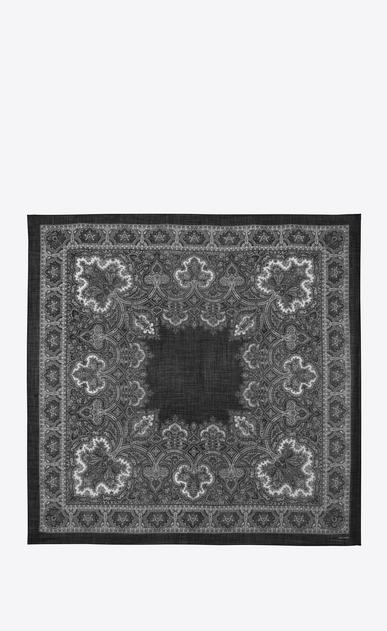 SAINT LAURENT Quadratische Schals Damen Großer, quadratischer Schal aus Challis mit schwarz-weißem Paisleymuster b_V4