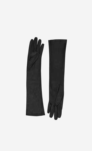 SAINT LAURENT Glove Femme gants longs en agneau plongé b_V4