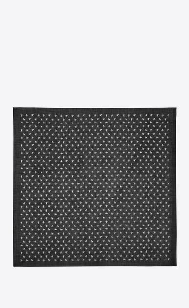 SAINT LAURENT スカーフ カレ レディース Large square scarf in black and white cat print challis b_V4