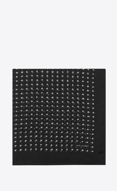 SAINT LAURENT Squared Scarves Woman square scarf in cashmere and silk with stars print a_V4