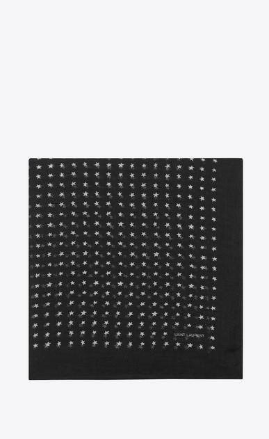 Großer, quadratischer Schal aus Challis mit schwarz-weißem Sternenprint