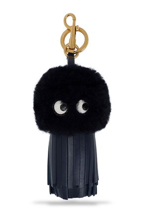 ANYA HINDMARCH Tasseled leather and shearling keychain