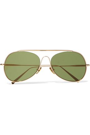 WOMAN SPITFIRE AVIATOR-STYLE GOLD-TONE SUNGLASSES GOLD