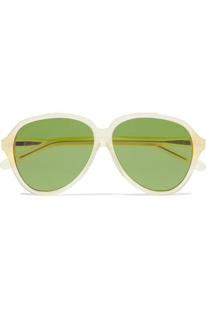 WOMAN CHARGE AVIATOR-STYLE ACETATE SUNGLASSES BEIGE