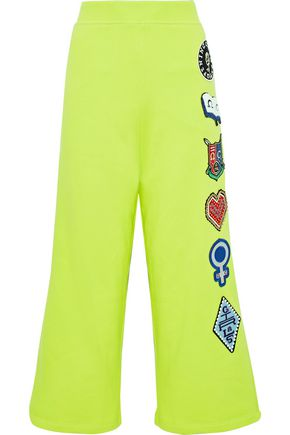OPENING CEREMONY Cropped appliquéd neon cotton-fleece track pants