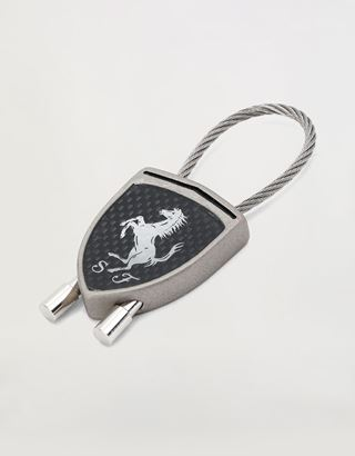 Scuderia Ferrari Online Store - Carbon fibre effect keyring  with black Ferrari Shield - Keyrings