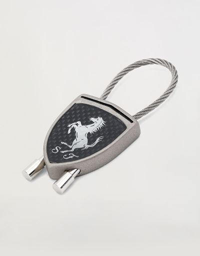 Carbon fibre effect keyring  with black Ferrari Shield