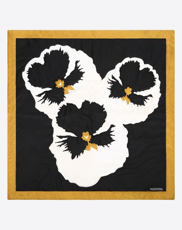 """Утеплённый платок из шёлкового твила с принтом """"Анютины глазки"""", 90x90 см"""