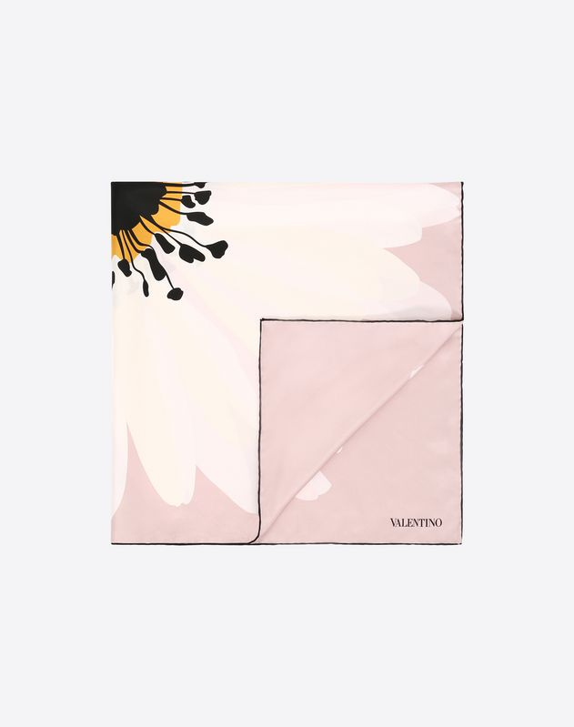 Silk twill foulard with daisy print, 90x90cm