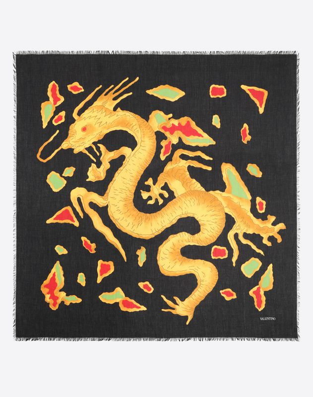 125x125 cm scarf with DRAGON RE-EDITION 1968 print