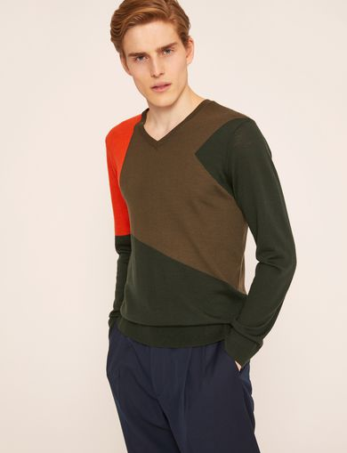 GEOMETRIC COLORBLOCK WOOL SWEATER
