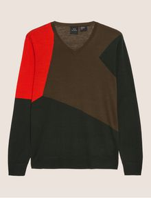 ARMANI EXCHANGE GEOMETRIC COLORBLOCK WOOL SWEATER Pullover Man r