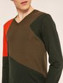 ARMANI EXCHANGE GEOMETRIC COLORBLOCK WOOL SWEATER Pullover Man b
