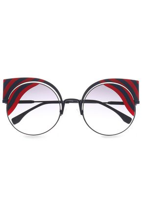 FENDI Cat-eye printed acetate and metal sunglasses