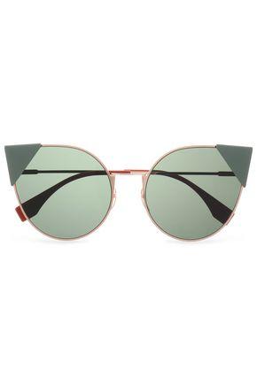 FENDI Cat-eye acetate and rose gold-tone sunglasses