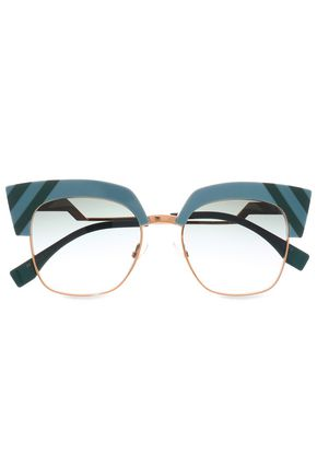 FENDI Cat-eye acetate and gold-tone sunglasses