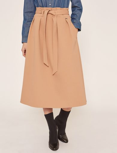 PAPERBAG WAIST PLEATED MIDI SKIRT