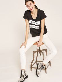 ARMANI EXCHANGE FRAGMENTED EMOJI CROP Logo T-shirt Woman a