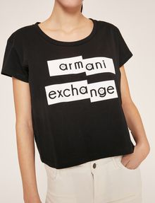 ARMANI EXCHANGE FRAGMENTED EMOJI CROP Logo T-shirt Woman b
