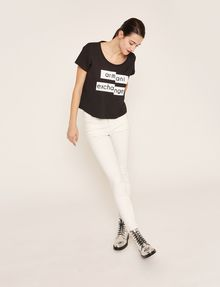 ARMANI EXCHANGE FRAGMENTED EMOJI CROP Logo T-shirt Woman d