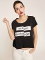 ARMANI EXCHANGE FRAGMENTED EMOJI CROP Logo T-shirt Woman f