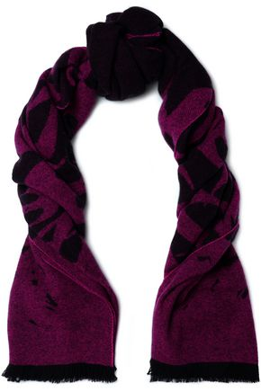 McQ Alexander McQueen Fringed wool-blend jacquard scarf