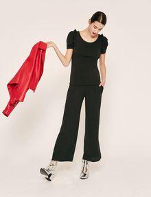 ARMANI EXCHANGE RUFFLE SLEEVE SCOOPNECK TOP S/L Knit Top Woman d