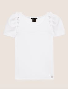 ARMANI EXCHANGE RUFFLE SLEEVE SCOOPNECK TOP S/S Knit Top Woman r