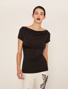ARMANI EXCHANGE BOATNECK COWL TOP Solid Top [*** pickupInStoreShipping_info ***] f