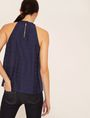 ARMANI EXCHANGE TONAL DOBBY STRIPE HALTER TANK S/S Knit Top Woman e