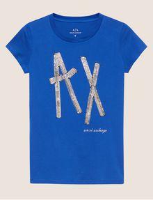 ARMANI EXCHANGE STUD TAPE LOGO TEE Logo T-shirt Woman r