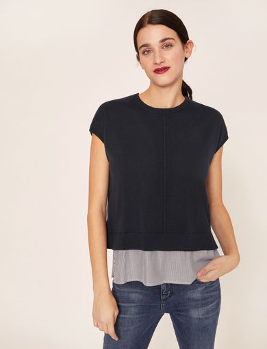 SPLIT-BACK LAYER EFFECT SWEATER