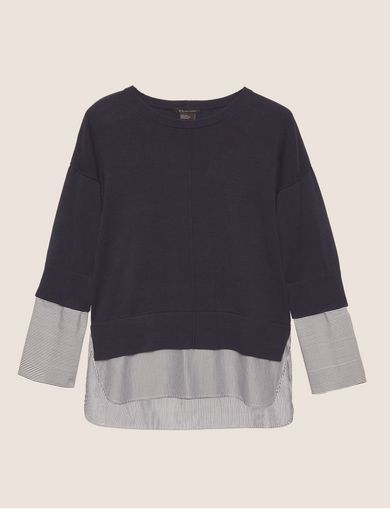 BELL-SLEEVE LAYER EFFECT SWEATER