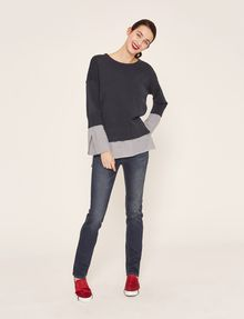 ARMANI EXCHANGE BELL-SLEEVE LAYER EFFECT SWEATER Crew Neck [*** pickupInStoreShipping_info ***] d