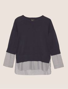 ARMANI EXCHANGE BELL-SLEEVE LAYER EFFECT SWEATER Crew Neck [*** pickupInStoreShipping_info ***] r