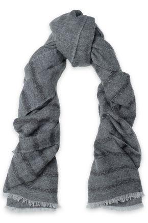 BRUNELLO CUCINELLI Metallic striped knitted scarf