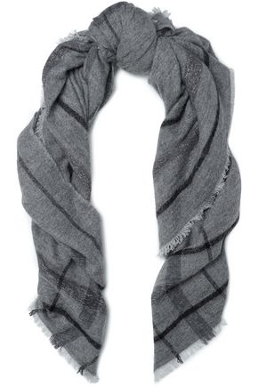 BRUNELLO CUCINELLI Metallic checked intarsia-knit scarf