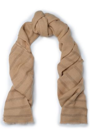 BRUNELLO CUCINELLI Metallic striped gauze scarf