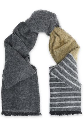 BRUNELLO CUCINELLI Striped intarsia-knit scarf