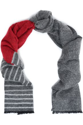 BRUNELLO CUCINELLI Frayed striped knitted scarf