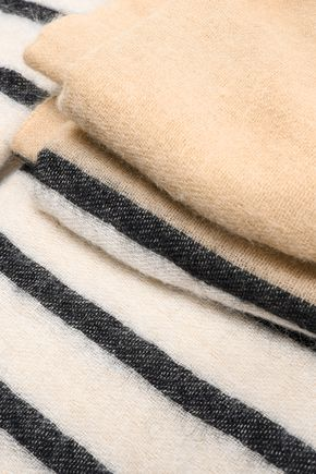 BRUNELLO CUCINELLI Striped two-tone intarsia-knit scarf