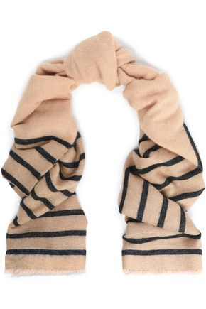 BRUNELLO CUCINELLI Striped metallic intarsia-knit scarf