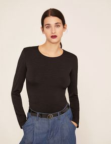 ARMANI EXCHANGE LONG-SLEEVE TIE-BACK TEE L/S Knit Top Woman f
