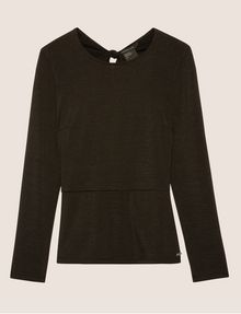 ARMANI EXCHANGE LONG-SLEEVE TIE-BACK TEE L/S Knit Top Woman r