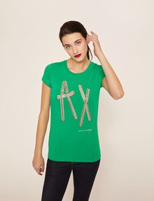 ARMANI EXCHANGE STUD TAPE LOGO TEE Logo T-shirt Woman f