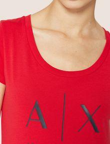 ARMANI EXCHANGE T-SHIRT MIT KLASSISCHEM LOGO UND U-BOOT-AUSSCHNITT Logo-T-Shirt Damen b