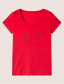 ARMANI EXCHANGE T-SHIRT MIT KLASSISCHEM LOGO UND U-BOOT-AUSSCHNITT Logo-T-Shirt Damen r