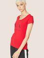 ARMANI EXCHANGE T-SHIRT MIT KLASSISCHEM LOGO UND U-BOOT-AUSSCHNITT Logo-T-Shirt Damen f