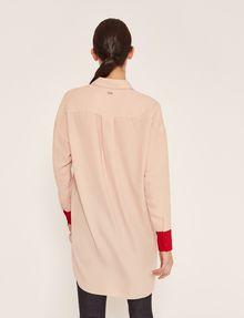 ARMANI EXCHANGE CONTRAST CUFF LONGLINE BLOUSE Plain Shirt Woman e