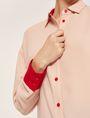 ARMANI EXCHANGE CONTRAST CUFF LONGLINE BLOUSE Plain Shirt Woman b